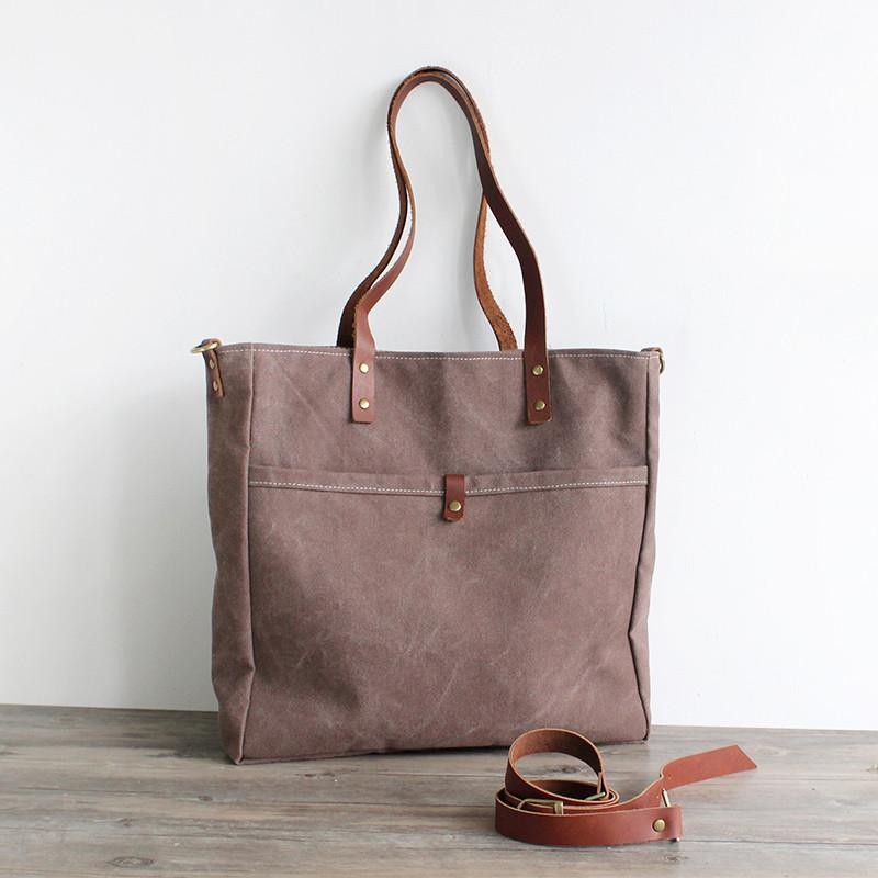 Tote bag Handmade Canvas Messenger Bag Shoulder Bag Handbag 16000 - Unihandmade
