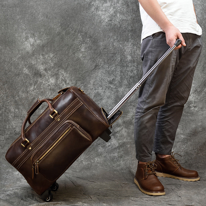 Handmade Full Grain Leather Trolley Bag Luggage Bag With Wheels