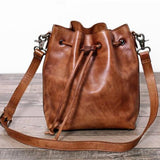 Full Grain Leather Messenger Shoulder Bag Cross body Bag Leather Bucket Bag WF55 - Unihandmade