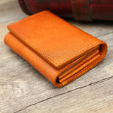 Hand Stitched Full Grain Vegetable Tanned Leather Card Holder F49 - Unihandmade