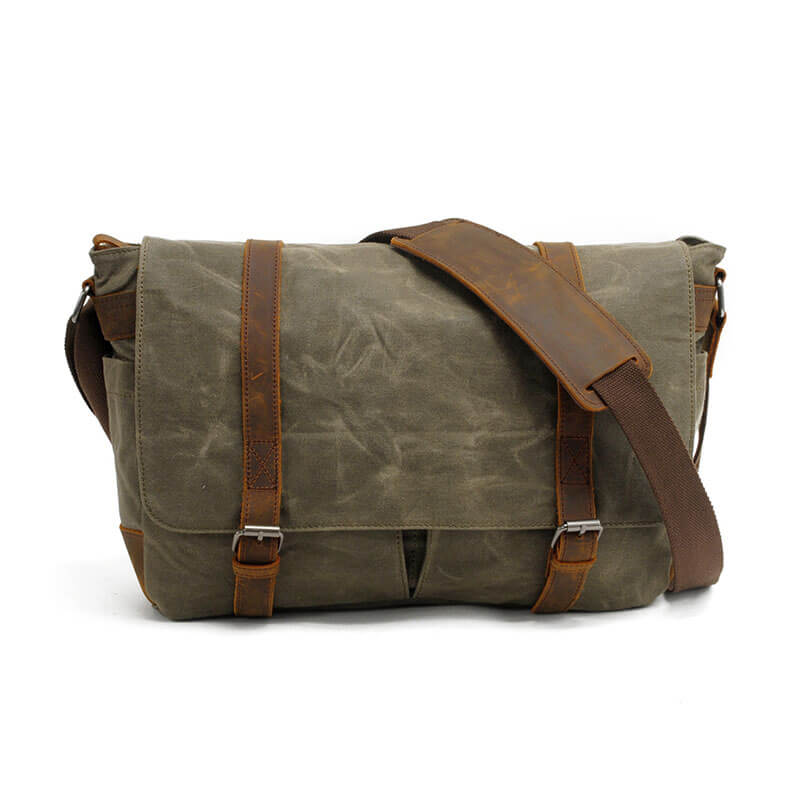 Mens Messenger Bag,Canvas Messenger Bag,Leather Canvas Bag MC16930 - Unihandmade