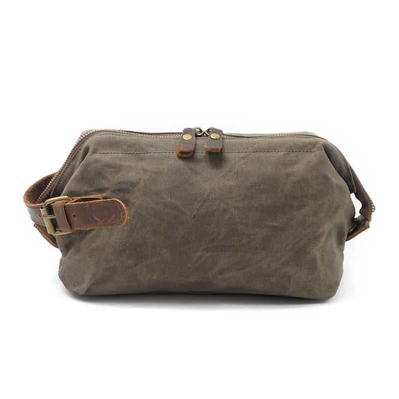 Canvas Hand Purse Portable Wristlet Wallet Clutch Purse Toiletry Bag Dopp Kit MC9161 - Unihandmade