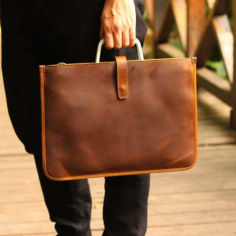 Handmade Crazy Horse Leather Laptop Bag Handbag Men Briefcase 0299 - Unihandmade