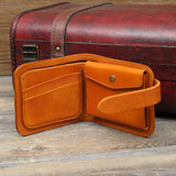 Hand Stitched Full Grain Vegetable Tanned Leather Money Purse Short Wallet Card Holder F48 - Unihandmade