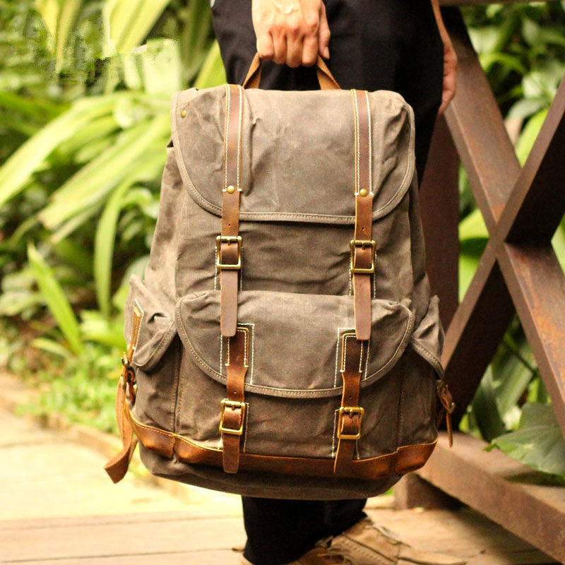 Personalized Waxed Canvas Travel Backpack School Backpack Hiking Rucksack Laptop Backpack