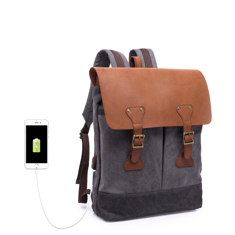 Waterproof Canvas Backpack Rucksack School Casual Backpack Laptop Backpack with USB Port YD5518 - Unihandmade