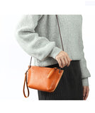 Handmade Top Grain Leather Messenger Bag Women Shoulder Bag QY8666 - Unihandmade