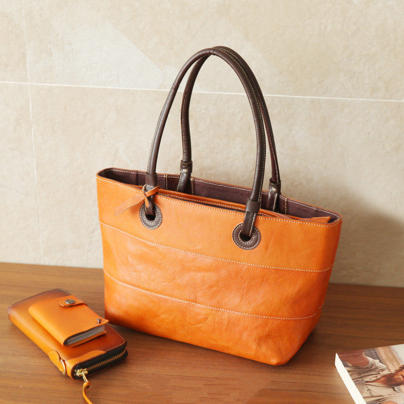 Handmade Women Tote Handbags Full Grain Leather Shopping Bag Tote Bag BR6053 - Unihandmade