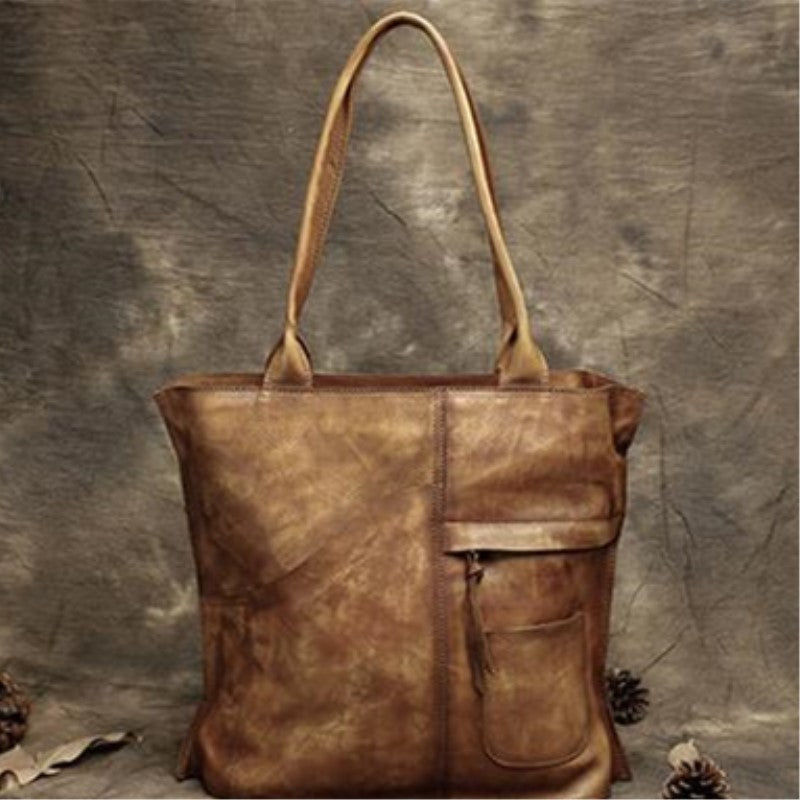 Handmade Full Grain Leather Messenger Bag Tote Bag Shopping Bag DD103 - Unihandmade