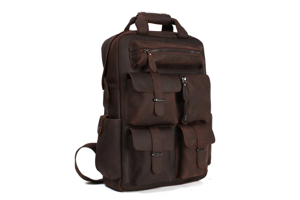 Handmade Vintage Leather Backpack Travel Backpack for Men B826 - Unihandmade