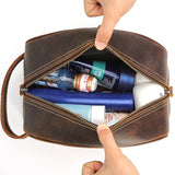 Handmade Leather Dopp Kit Large Leather Cosmetic Bag Travel Toiletry Bag CN8814 - Unihandmade