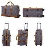 Trolley Bag Canvas Leather Holdall Luggage Bag Duffel Bag with wheels 12031T - Unihandmade