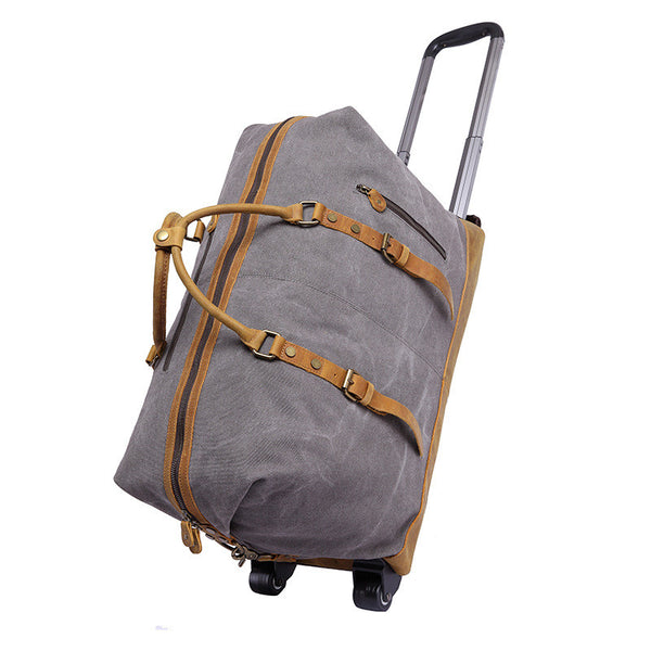 Trolley Bag Waxed Canvas Leather Duffel Bag Holdall Luggage Bag with Wheels 12031T