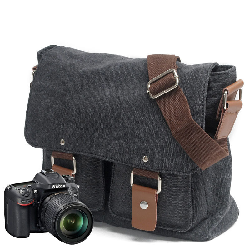 Vintage Genuine Leather and Canvas Camera Shoulder Bag Messenger Bag MC2101ND - Unihandmade