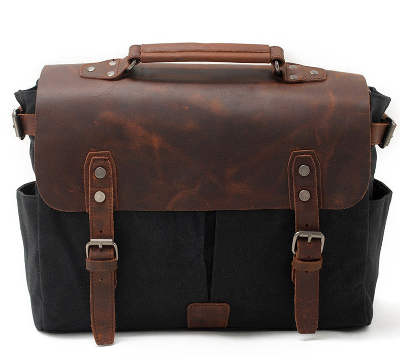 Handmade Waxed Canvas Leather Briefcase Messenger Bag Shoulder Bag Laptop Bag AF34 - Unihandmade