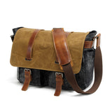 Canvas Leather Briefcase Messenger Bag Shoulder Bag MC16940 - Unihandmade