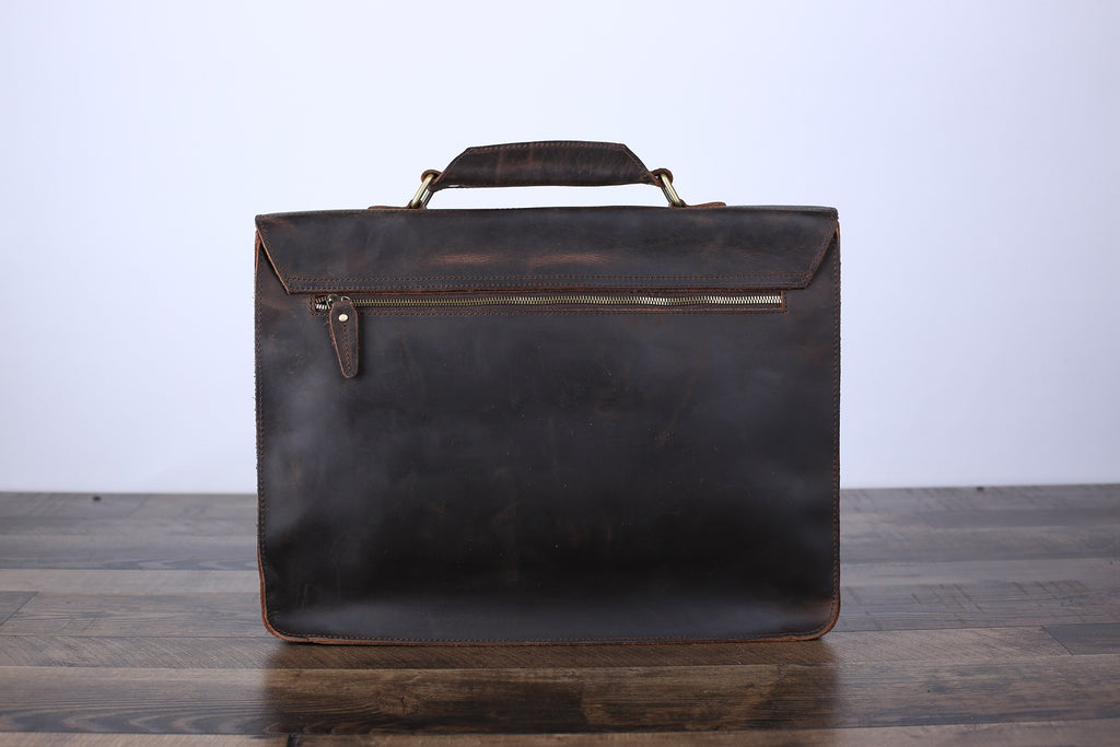 Handmade Vintage Men Leather Briefcase Messenger Bag Men Leather Shoulder Bag School Laptop Bag - Unihandmade