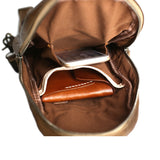 Handmade Vintage Full Grain Leather Travel Hiking Single Strap Chest Bags Sling Bag 14132