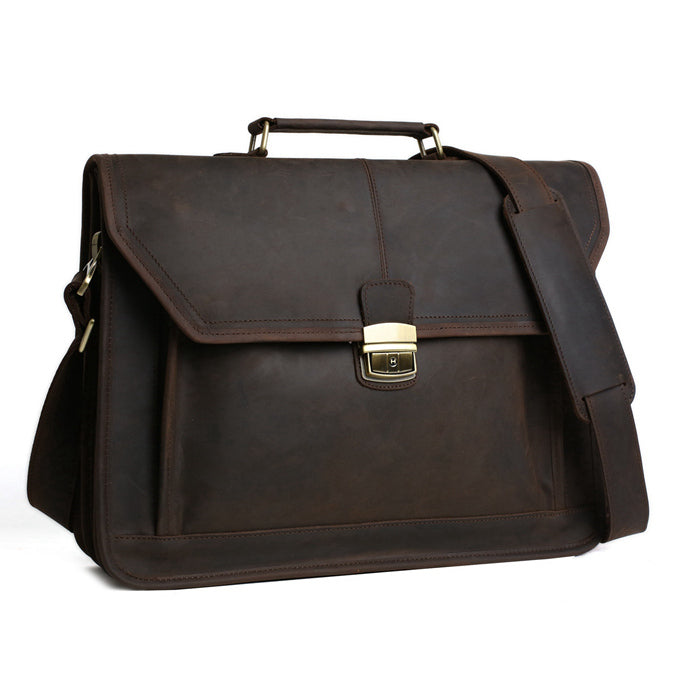 Handmade Vintage Leather Briefcase Men Messenger Bag Laptop Bag 7083 - Unihandmade
