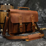 Personalized Monogram Full Grain Distressed Leather Briefcase Messenger Bag Laptop Bag 0344
