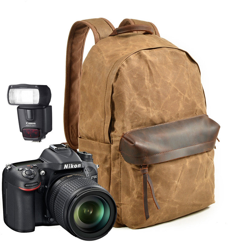 Waxed Canvas Camera Backpack Professional DSLR Camera Bag Travel Backpack MC8003ND - Unihandmade