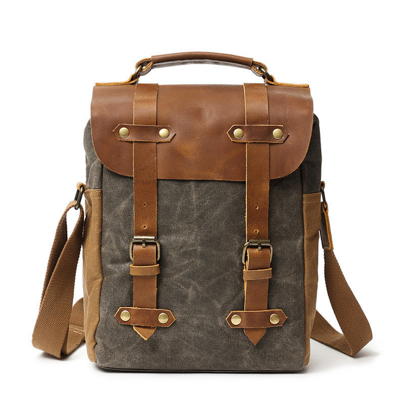 Handmade Canvas Leather Water-proof Camera Backpack Men Travel Bag Backpacks FX99988 - Unihandmade