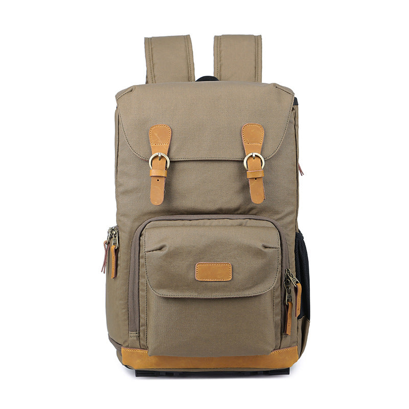 Camera Bag Backpack Canvas Leather Backpack with Camera Insert 279 - Unihandmade