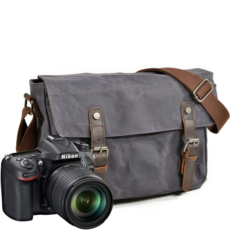 Handmade Canvas Leather Camera Bag Professional DSLR Camera Messenger Bag 6027ND - Unihandmade