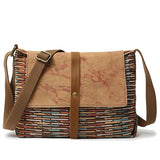 Handmade Canvas Leather Messenger Bag School Satchel Travel Bag FX3323 - Unihandmade