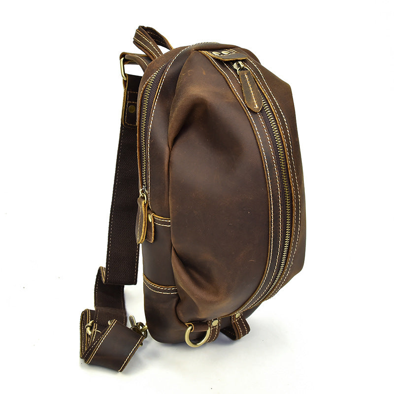 Handmade Crazy Horse Leather Men Sling Shoulder bag Chest Bag Sport Cross body Bag NP01 - Unihandmade