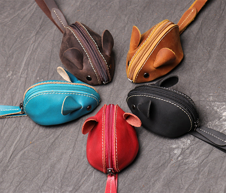 Cute Coin Purse Handmade Leather key Pocket - Unihandmade