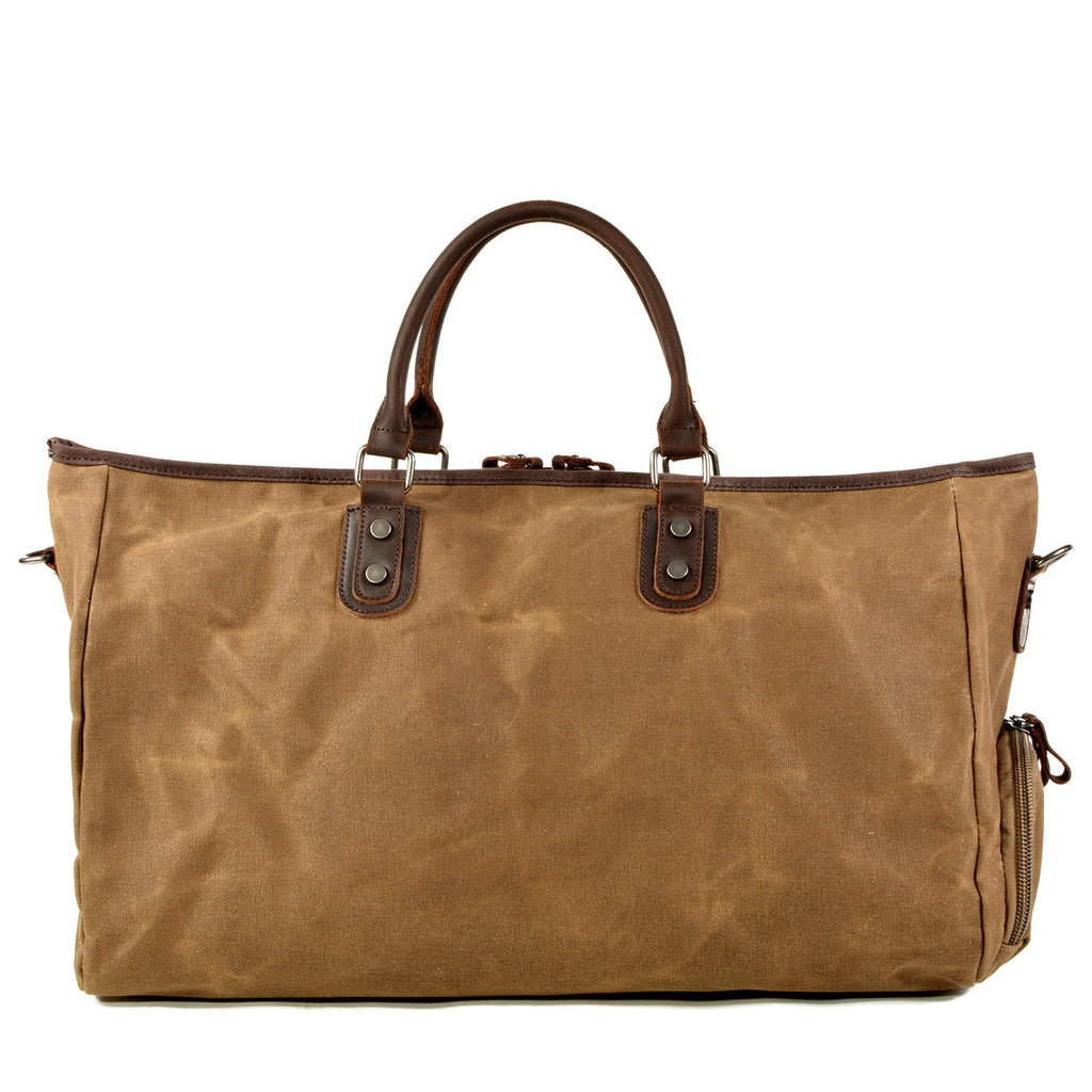 Women Waxed Canvas Leather Travel Bag Duffle Bag Weekender Bag with Shoe Pouch - Unihandmade