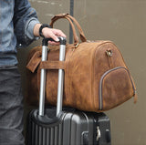 Handmade Large Vintage Full Grain Leather Duffel Bag Travel Luggage Bag Duffle bag with Shoes Compartment 7077 - Unihandmade