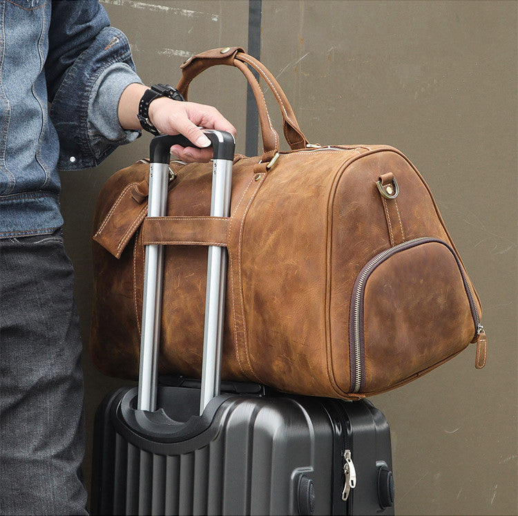 9347aec4a8d Handmade Large Vintage Full Grain Leather Duffel Bag Travel Luggage Bag  Duffle bag with Shoes Compartment 7077
