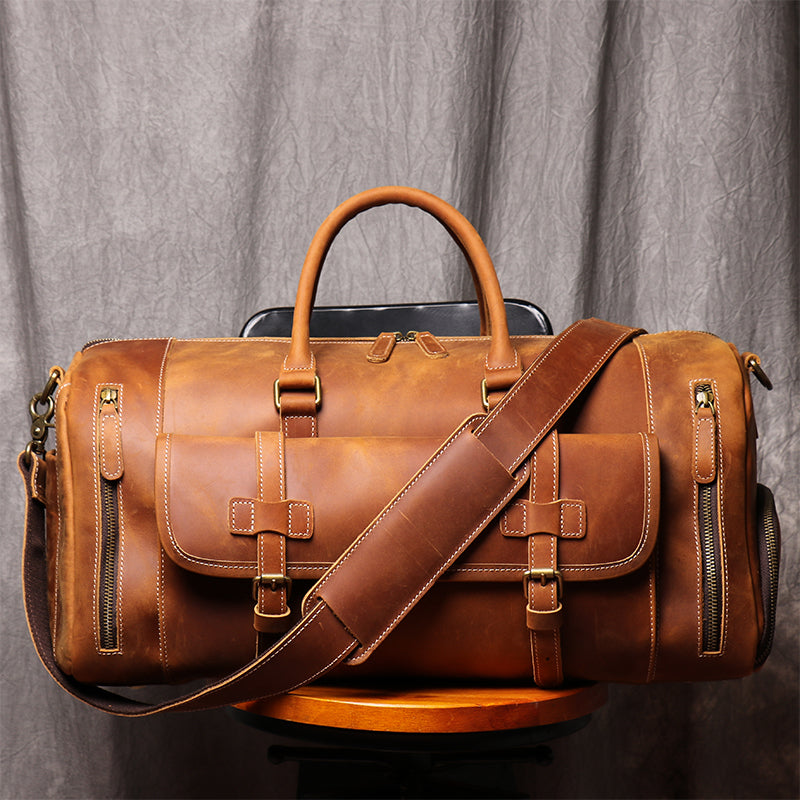 Handmade Vintage Brown Leather Duffel Bag with Shoes Compartment Travel Bag LJ1188 - Unihandmade