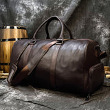 Full Grian Leather Travel Bag with Shoes Compartment Handbag