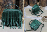 Handmade Full Grain Leather Fringe Bag Tote Handbag Satchel WF92 - Unihandmade