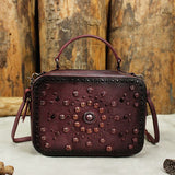 Handmade Leather  Women Shoulder Bag Hand Bag with Rivet Girls BW168005 - Unihandmade