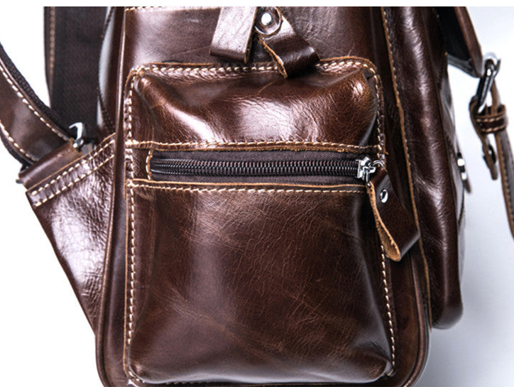 Handmade Top Grain Leather Backpack Women Travel Backpack Leather Covered Shoulder Bag MLT1038 - Unihandmade