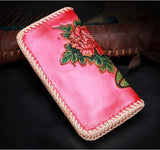 Handmade Leather Beauty Biker Wallet Clutch Long Wallet Leather Women Phone Wallet NW112 - Unihandmade