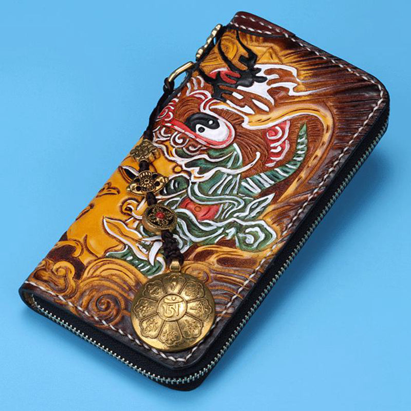 Handmade Leather Buddha Biker Wallet Clutch Zip Long Wallet Leather Men Phone Wallet NW118 - Unihandmade