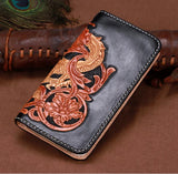 Handmade Italy Full Grain Leather  Biker Wallet Clutch Punk Long Wallet  NW119 - Unihandmade