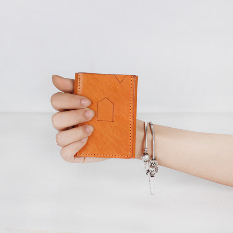 Handmade Full Grain Leather Wallet Women's Minimalist Wallet 5 colors Short Wallet G7105 - Unihandmade