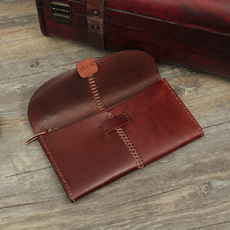 Hand Stitched Full Grain Vegetable Tanned Leather Long Wallet Purse F46 - Unihandmade