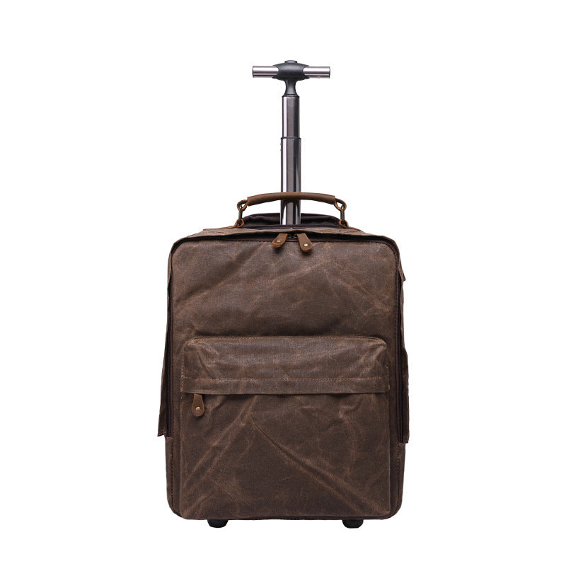 Handmade Waxed Canvas Wheelie Backpack  Carry-on Backpack with Wheels Luggage Laptop Backpack with USB Port YD5532 - Unihandmade