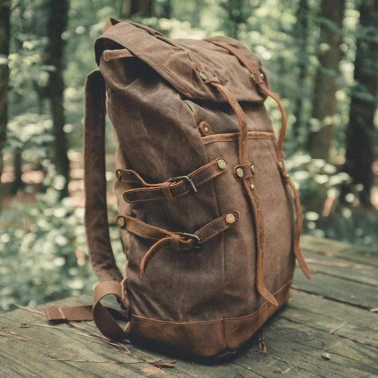 Personalized Waxed Canvas Backpack Travel Backpack Hiking Rucksack College Backpack