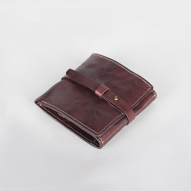 Handmade Full Grain Leather Wallet Men's Minimalist Wallet Small Wallet QS4053 - Unihandmade