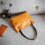 Tote Bag Design Full Grain Leather Handmade Tote Bags Purse CF35 - Unihandmade