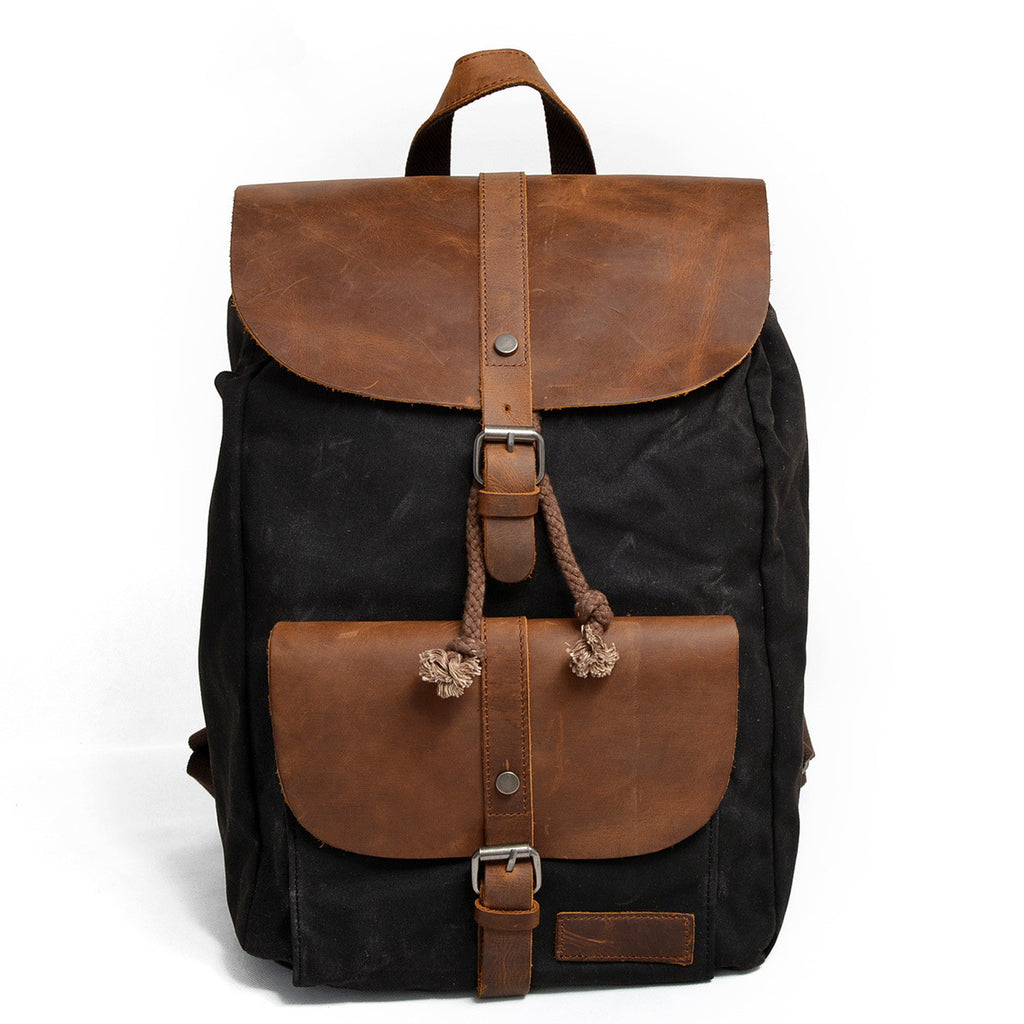 Washed Canvas Leather Backpack Rucksack School Backpack Travel Backpack CF11 - Unihandmade