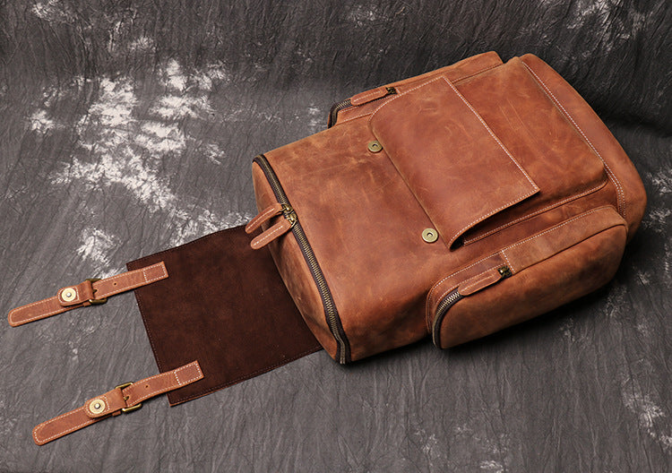 Handmade Leather Backpack Large Travel Backpack Men Backpack